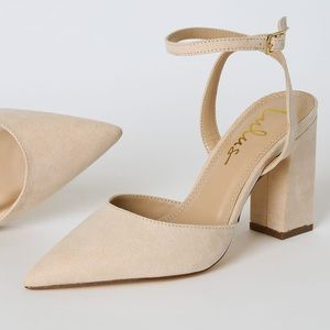 Nude Suede Pointed-Toe Ankle Strap Heels